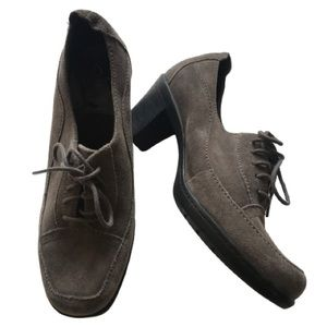 Clarks suede lace up oxford booties
